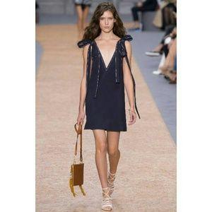 Chloé Shoulder Bow Tie Textured Crepe V-Neck Dress